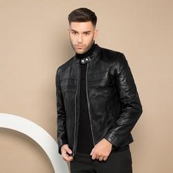 Męska skórzana kurtka na suwak, czarno - srebrny, 91-09-653-1-L, Zdjęcie 1