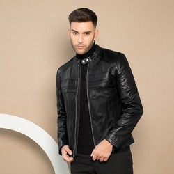 Męska skórzana kurtka na suwak, czarno - srebrny, 91-09-653-1-M, Zdjęcie 1