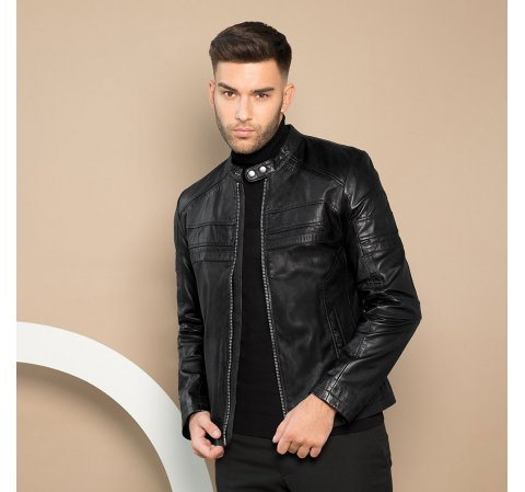 Мужская кожаная куртка на молнии 91-09-653-1