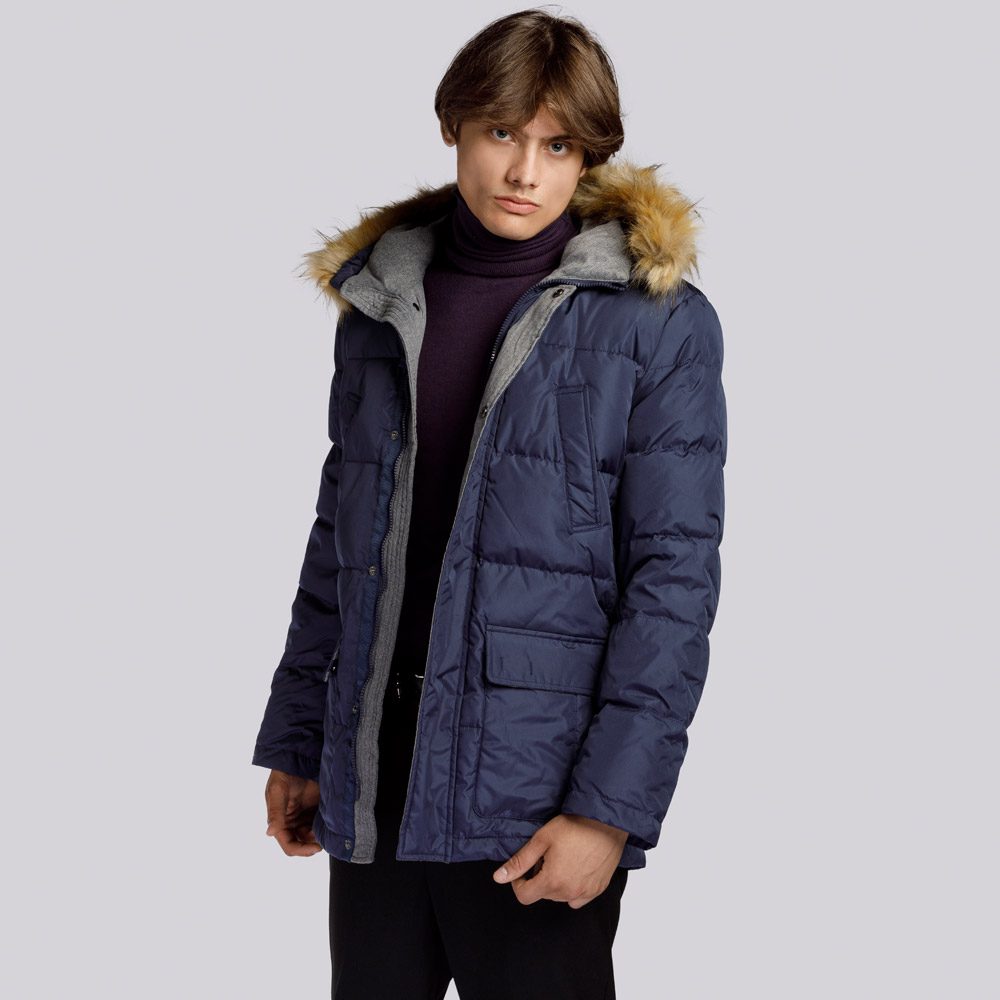 Men's hooded down jacket, navy blue, 91-9D-450-7-S, Photo 1