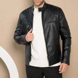 Men's black racer jacket, black, 91-9P-150-1-M, Photo 1