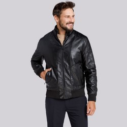 Men's bomber jacket, black, 91-9P-151-1-S, Photo 1