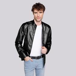 Męska kurtka z ekoskóry klasyczna, czarny, 92-9P-150-1-L, Zdjęcie 1