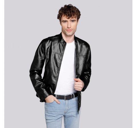 Męska kurtka z ekoskóry klasyczna, czarny, 92-9P-150-1-2XL, Zdjęcie 1