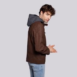 Męska kurtka z matowej ekoskóry z kapturem, Brązowy, 92-9P-151-4-XL, Zdjęcie 1
