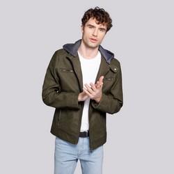 Męska kurtka z matowej ekoskóry z kapturem, khaki, 92-9P-151-Z-M, Zdjęcie 1