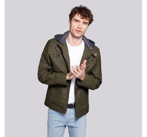 Męska kurtka z matowej ekoskóry z kapturem, khaki, 92-9P-151-Z-L, Zdjęcie 1