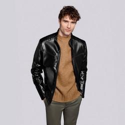 Męska kurtka ze stębnowanymi kieszeniami, czarny, 92-9P-152-1-M, Zdjęcie 1