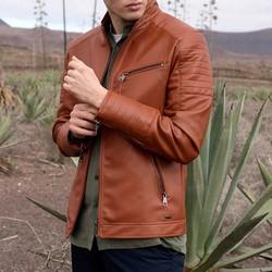 Męska kurtka ze stębnowanymi kieszeniami, jasny brąz, 92-9P-152-5-M, Zdjęcie 1