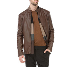 Men's jacket, brown, 83-9P-350-4-S, Photo 1