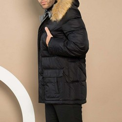 Męska kurtka puchowa z kapturem, czarny, 91-9D-450-1-3XL, Zdjęcie 1