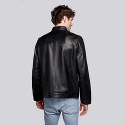 Męska kurtka motocyklowa skórzana z kieszeniami, czarny, 92-09-650-1-2XL, Zdjęcie 1