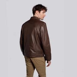 Męska kurtka motocyklowa skórzana z kieszeniami, brązowy, 92-09-650-4-2XL, Zdjęcie 1
