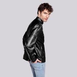 Męska kurtka z ekoskóry klasyczna, czarny, 92-9P-150-1-XL, Zdjęcie 1