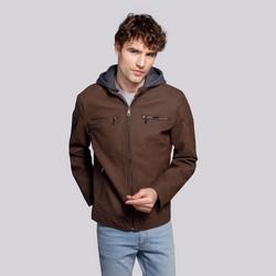 Męska kurtka z matowej ekoskóry z kapturem, brązowy, 92-9P-151-4-S, Zdjęcie 1