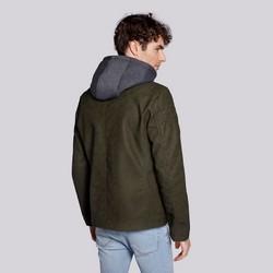 Męska kurtka z matowej ekoskóry z kapturem, khaki, 92-9P-151-Z-3XL, Zdjęcie 1
