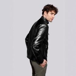 Męska kurtka ze stębnowanymi kieszeniami, czarny, 92-9P-152-1-L, Zdjęcie 1