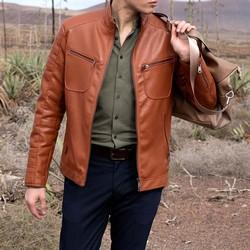 Męska kurtka ze stębnowanymi kieszeniami, jasny brąz, 92-9P-152-5-XL, Zdjęcie 1