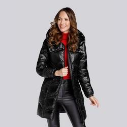 Damska kurtka pikowana długa, czarny, 93-9D-404-1-S, Zdjęcie 1