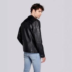 Męska kurtka skórzana na suwak, czarny, 93-09-609-1-M, Zdjęcie 1