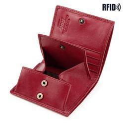 mały skórzany portfel damski, bordowy, 21-1-065-L30, Zdjęcie 1
