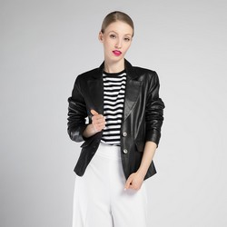 Damska kurtka ze skóry, czarny, 90-09-600-1-XL, Zdjęcie 1