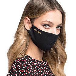 Cotton face cover mask with a golden logo, black, MASECZKA-1M, Photo 1