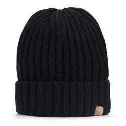 Męska czapka z wełny i nylonu, czarny, 93-HF-008-1, Zdjęcie 1