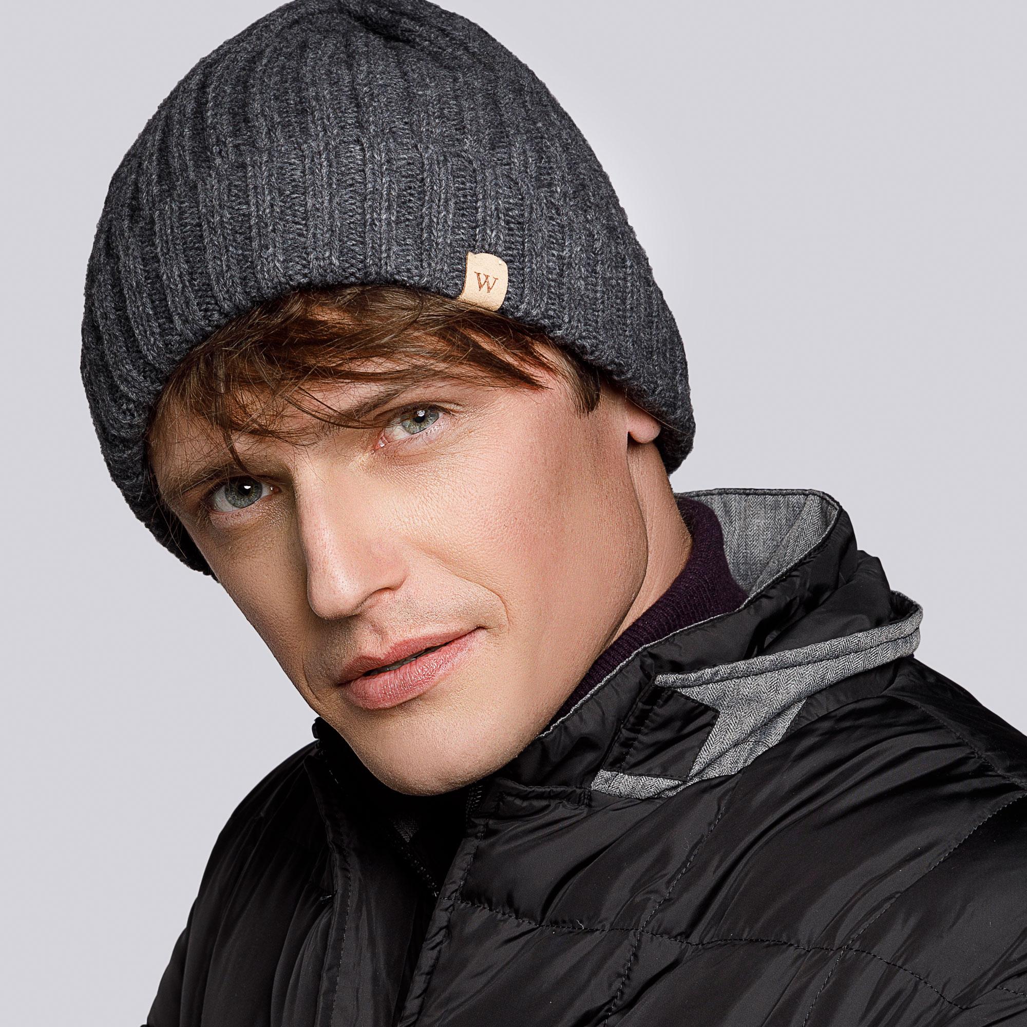 Męska czapka z wełny i nylonu, szary, 93-HF-008-8, Zdjęcie 1