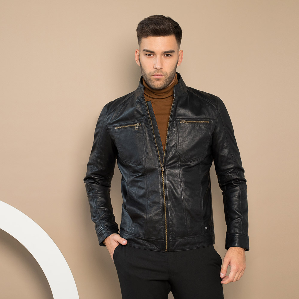 Men's leather jacket, black, 91-09-250-1-S, Photo 1
