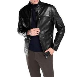 Męska kurtka skórzana motocyklowa, czarny, 92-09-851-1-S, Zdjęcie 1