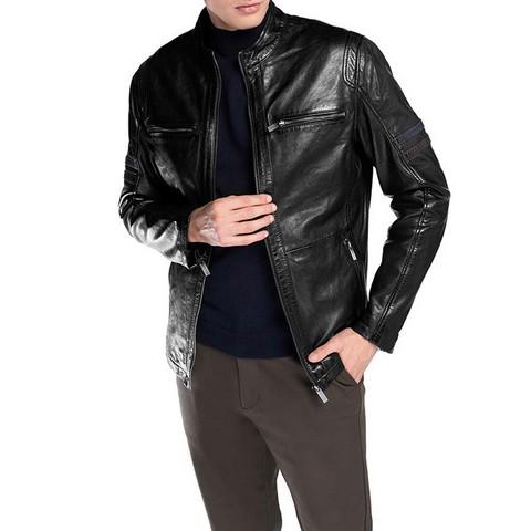 Męska kurtka skórzana motocyklowa, czarny, 92-09-851-1-XL, Zdjęcie 1