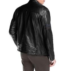 Męska kurtka skórzana motocyklowa, czarny, 92-09-851-1-L, Zdjęcie 1