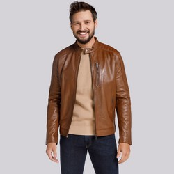 Men's leather jacket, brown, 91-09-750-5-S, Photo 1