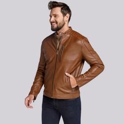 Męska kurtka wiatrówka ze skóry, brązowy, 91-09-750-5-L, Zdjęcie 1