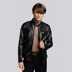 Męska kurtka skórzana z pikowaniem na ramionach, czarny, 93-09-852-1-S, Zdjęcie 1