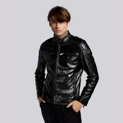 Męska kurtka skórzana z pikowaniem na ramionach, czarny, 93-09-852-1-M, Zdjęcie 1