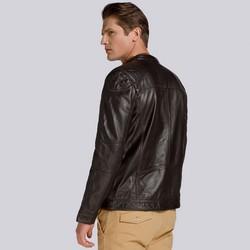 Męska kurtka skórzana z pikowaniem w kratę, brązowy, 93-09-603-4-2XL, Zdjęcie 1
