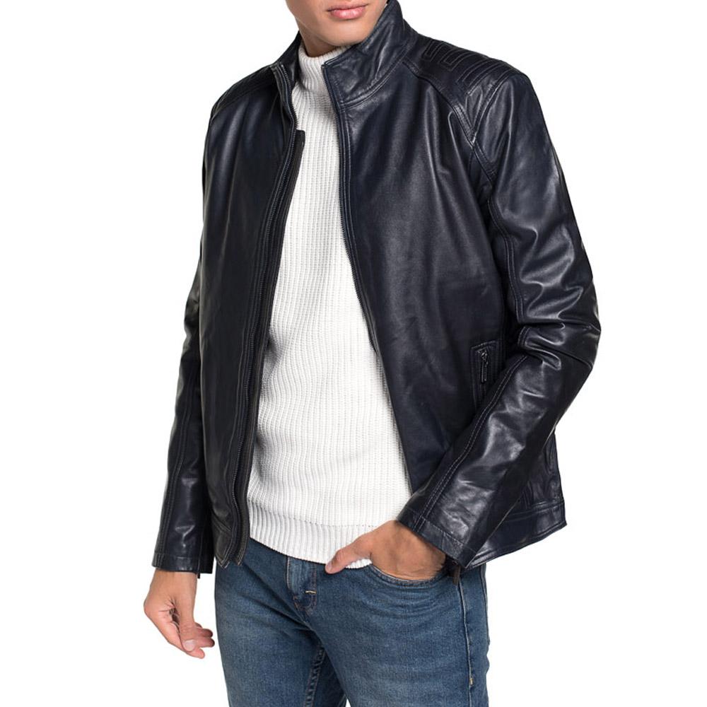 Men's leather jacket, navy blue, 91-09-651-7-S, Photo 1