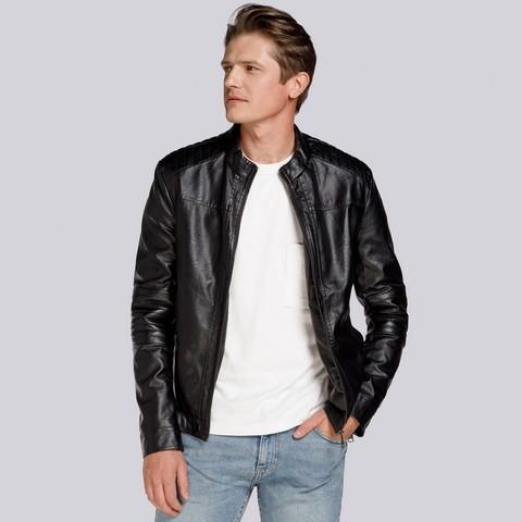 Męska kurtka z pikowaniem ocieplana, czarny, 93-9P-104-1-M, Zdjęcie 1