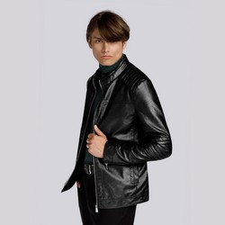Męska kurtka z pikowaniem ocieplana, czarny, 93-9P-104-1-XL, Zdjęcie 1
