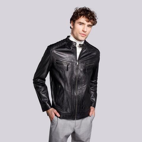 Męska kurtka ze skóry elegancka, czarny, 92-09-850-1-L, Zdjęcie 1