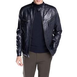 Męska kurtka ze skóry elegancka, granatowy, 92-09-850-7-XL, Zdjęcie 1