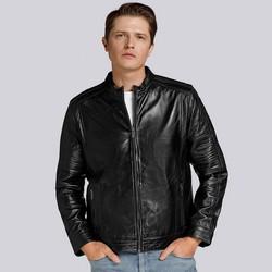 Męska kurtka ze skóry z lampasami, czarny, 93-09-601-1-XL, Zdjęcie 1
