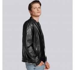 Męska kurtka ze skóry z lampasami, czarny, 93-09-601-1-L, Zdjęcie 1