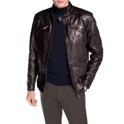 Męska kurtka ze skóry z pikowaniem, Brązowy, 92-09-852-4-S, Zdjęcie 1