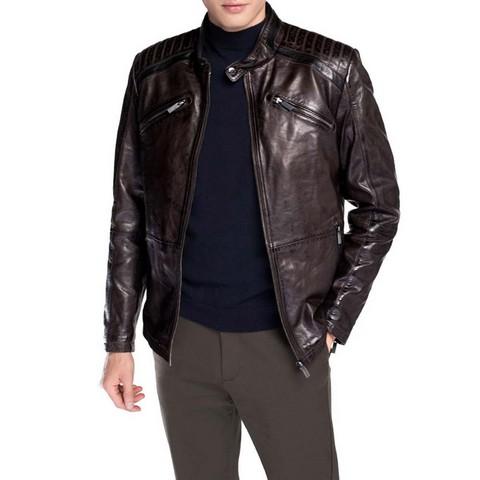 Męska kurtka ze skóry z pikowaniem, Brązowy, 92-09-852-4-XL, Zdjęcie 1