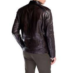 Męska kurtka ze skóry z pikowaniem, brązowy, 92-09-852-4-M, Zdjęcie 1