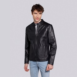 Men's leather jacket, black-graphite, 91-09-653-1B-M, Photo 1