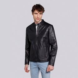 Męska skórzana kurtka na suwak, czarno - grafitowy, 91-09-653-1B-S, Zdjęcie 1